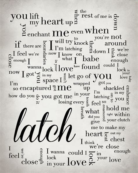 sam smith latch lyrics original customized song lyric print using the lyrics to