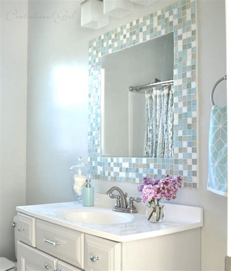 Bathroom Mirror Mosaic | diy mosaic tile bathroom mirror centsational girl