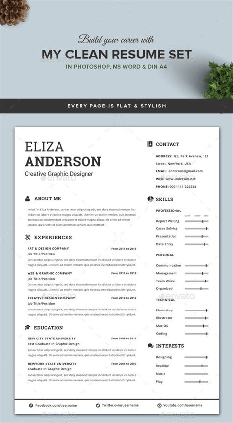 Personalize A Modern Resume Template In Ms Word Clean Resume Template