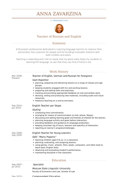 Curriculum Vitae Sle For Translation Of Resume Sles Visualcv Resume Sles Database