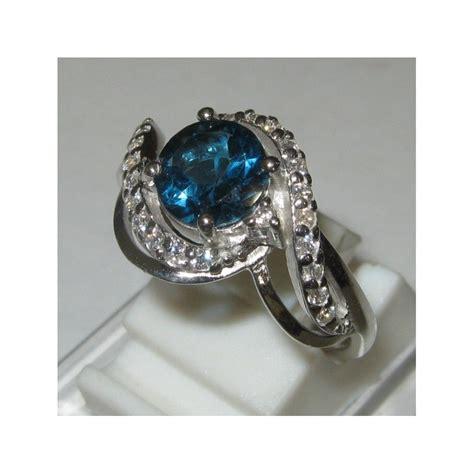 Batu Permata Blue Sapphire Cincin Silver 925 Lapis Emas Putih cincin permata blue topaz silver ring 8us