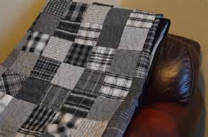 quilt black and gray s plaid shirt quilt upcycle