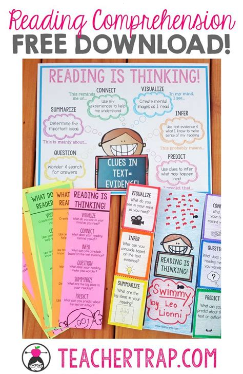 picture books to teach comprehension strategies reading comprehension freebies poster bookmarks and