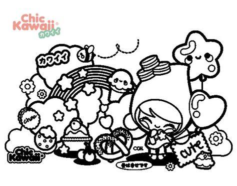 dibujos kawaii cute para colorear dibujo de collage kawaii para colorear dibujos net
