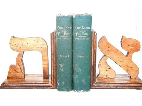 Handmade Wooden Bookends - custom letter bookends or hebrew letters wood bookends