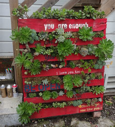 Skid Planter by Vertical Succulent Garden With Painted Notes