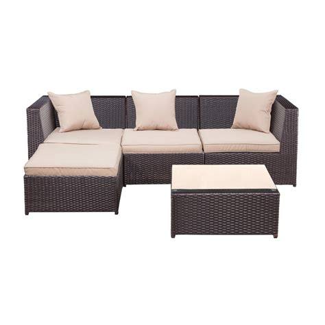 Palm Springs Outdoor 5 Pc Furniture Wicker Patio Set W Wicker Patio Furniture Cushions