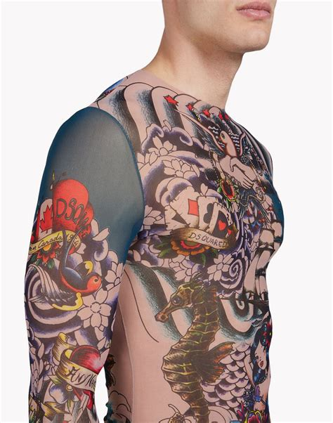 new tattoo under shirt dsquared2 tattoo long sleeve black t shirts for men