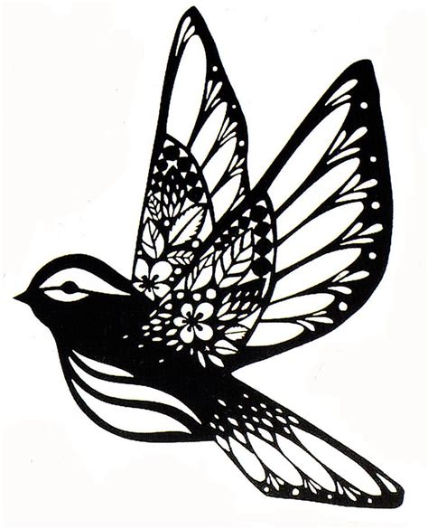 Paper Cutting Craft Patterns - sparrow paper cut fx paper cut stencil silhouette