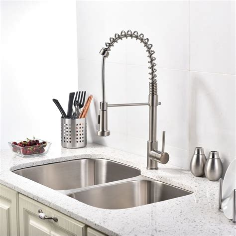 Sink Fixtures Kitchen Brushed Nickel Kitchen Sink Faucet With Pull Sprayer