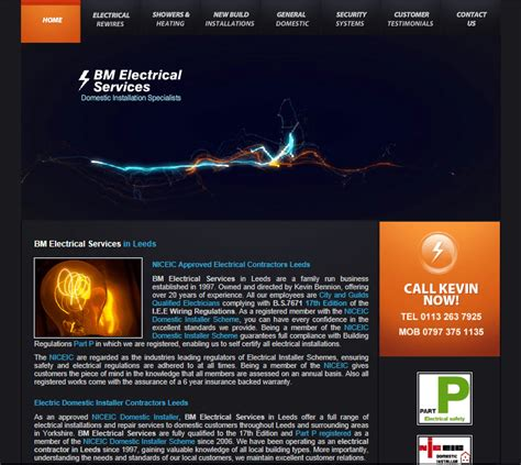 Website Templates For Electricians Electrician Website Template