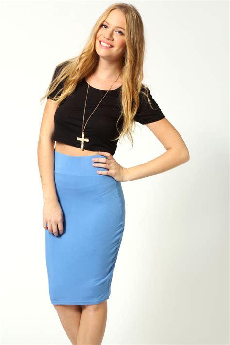 boohoo womens maddie jersey midi length skirt