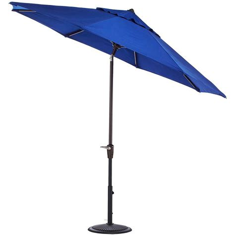 11 Patio Umbrella Hton Bay 11 Ft Aluminum Patio Umbrella In Sky Blue 9111 01298800 The Home Depot