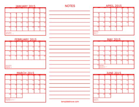 5 Best Images Of Printable 2015 6 Month Calendar Template 2015 Calendar Printable 6 Month One 6 Month Calendar Template Excel