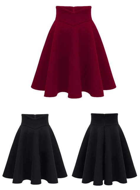 high waist solid pleated skirt for vintage