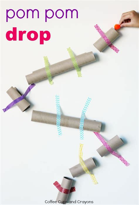 Pom Pom Drop STEM Challenge   Coffee Cups and Crayons