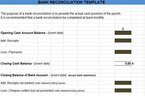 bank reconciliation statement templates in excel