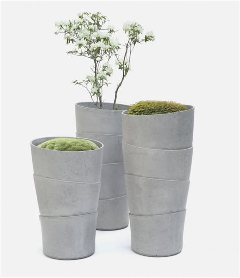 Simple planters inspired by growth form of palm tree