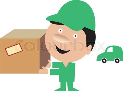 was bringen liegestütze lustige lieferung mann bringen ein paket vektorgrafik