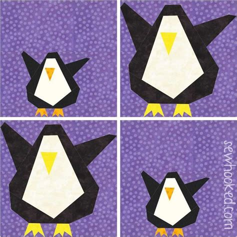 Penguin Quilt Pattern by Wee Lil Penguin 2 Sizes Paper Pieced By Sewhookedjen