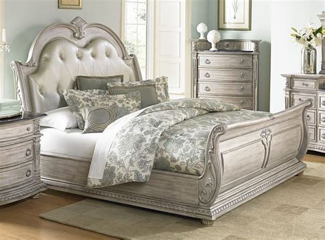 White Leather King Bedroom Set by Details About Stunning King Leather Antique White Finish