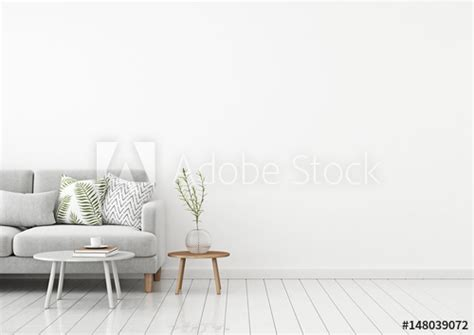 livingroom interior wall mock up with gray fabric sofa and