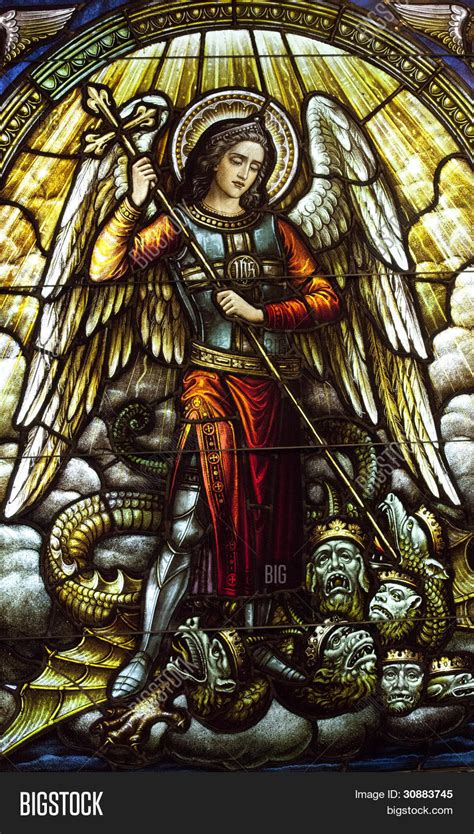 st michael archangel stained glass image amp photo bigstock