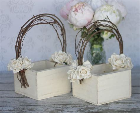 flower girl basket shabby chic wedding decor set of 2