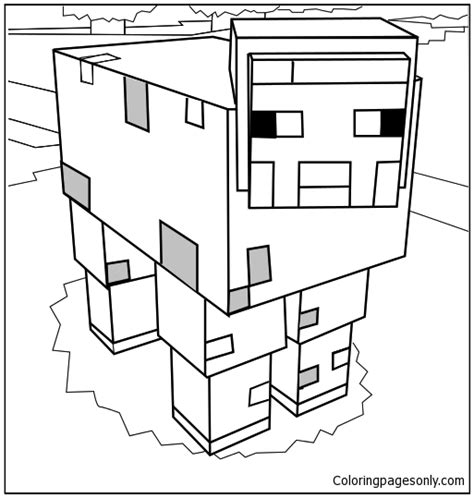minecraft mooshroom coloring page minecraft mooshroom 1 coloring page free coloring pages