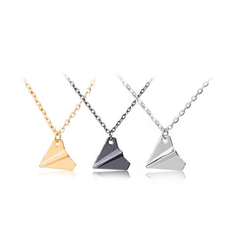 trendy origami plane chain pendant necklaces for