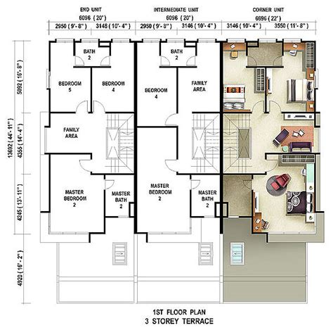 Small 3 Bedroom House Floor Plans by 3 Storey Terrace House For Sale Casuarina Penang