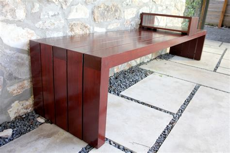 bench and berg outdoor bench with sliding table