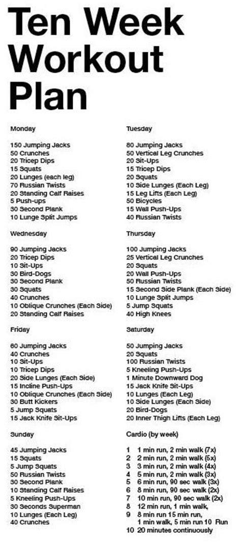 ten week workout plan i like the cardio plan think thin