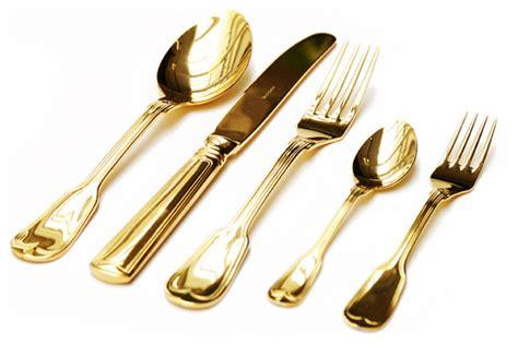 sambonet h art gold 5 piece place setting modern flatware gold home decoration club
