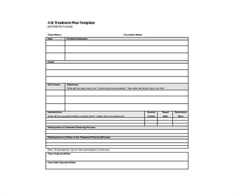 psychotherapy treatment plan template 13 treatment plan templates free sle exle