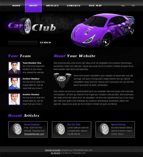 Free Car Club Website Template Free Club Website Templates