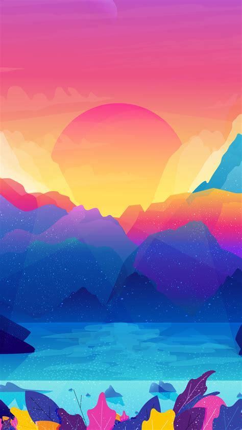 wallpaper sun mountains gradient colorful illustration