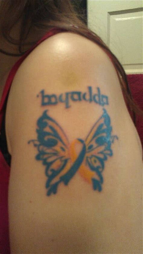 down syndrome tattoo awareness butterfly with brandon in
