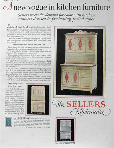Ad Cabinets by 1927 Sellers Kitchenaire Hoosier Cabinet Ad Period