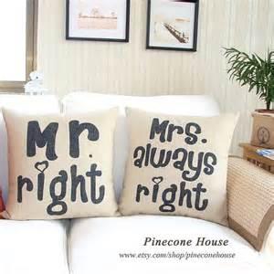mr right mrs always right linen pillow burlap pillow