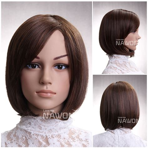 hairstyle to distract feom neck hot sale synthetic fiber side swept bang brown neck length