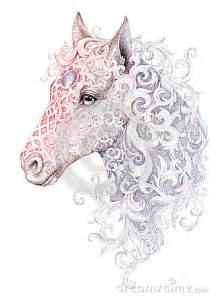tattoo beautiful horse head with a mane stock