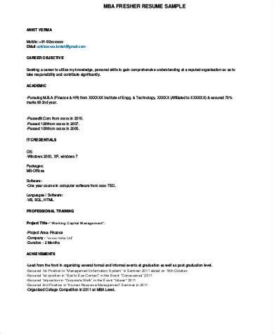 mba fresher resume format pdf sle mba resume 7 exles in word pdf