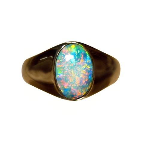 Opel Ring by Mens Solitaire Opal Ring 14k Gold Opal Ring
