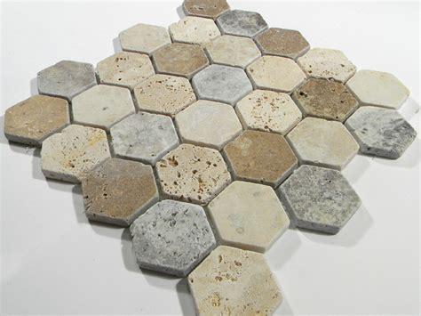 Madison Hexagon Pattern In Multi Color Tumbled Travertine
