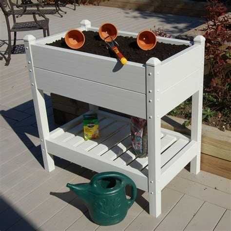 Plastic Raised Planter Boxes by 36 Inch Wide Raised Planter Box In White Vinyl Made In