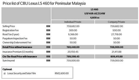 lexus price list price list lexus ls 460 zerotohundred com