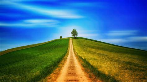 wallpaper field grass summer road sky hill hd