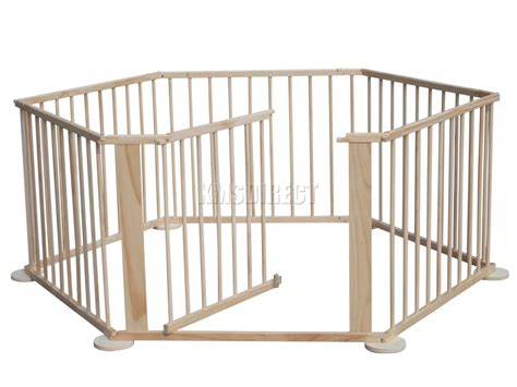 6 panel baby pen baby child foldable playpen play pen room divider wooden 6 side panel heavy duty ebay