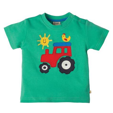 frugi tractor wheels applique t shirt